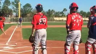 Christian Vazquez, Red Sox C, has fun with camera and goes through workout