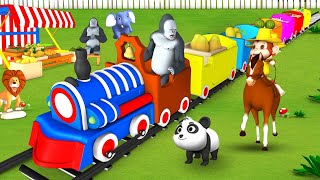 Gorilla's Fruits Train - Monkey Thief with Barn Animals Funny Activity in Forest Cartoons Videos