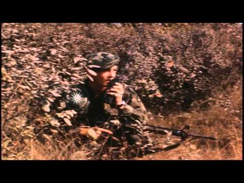 A patrol of US Long Range Patrol 51st Infantry soldiers advances cautiously in a ...HD Stock Footage