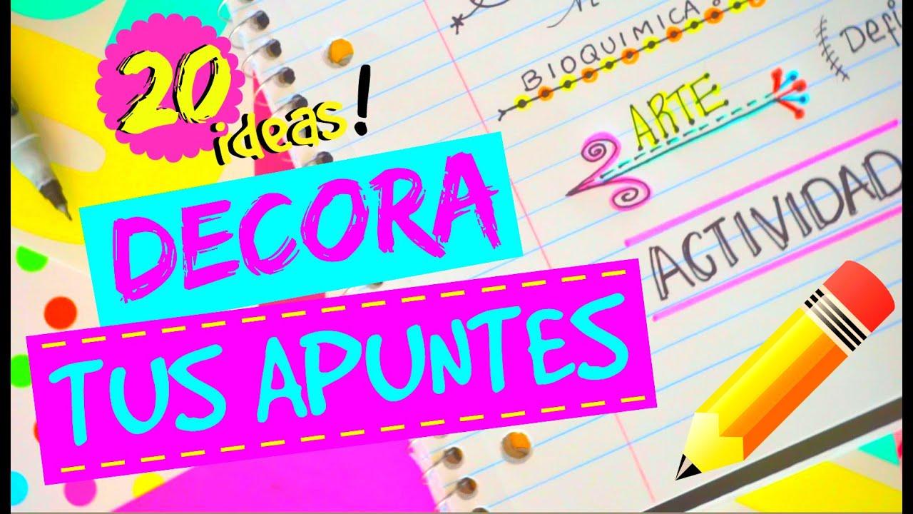 20 IDEAS PARA DECORAR TUS APUNTES! ♥ COMO HACER TITULOS   DECORA ...