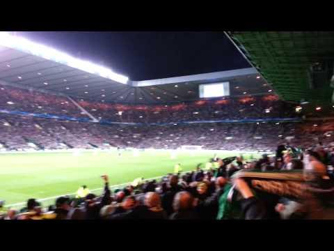 Atmosphere at Celtic v Barca b4 Messi goal