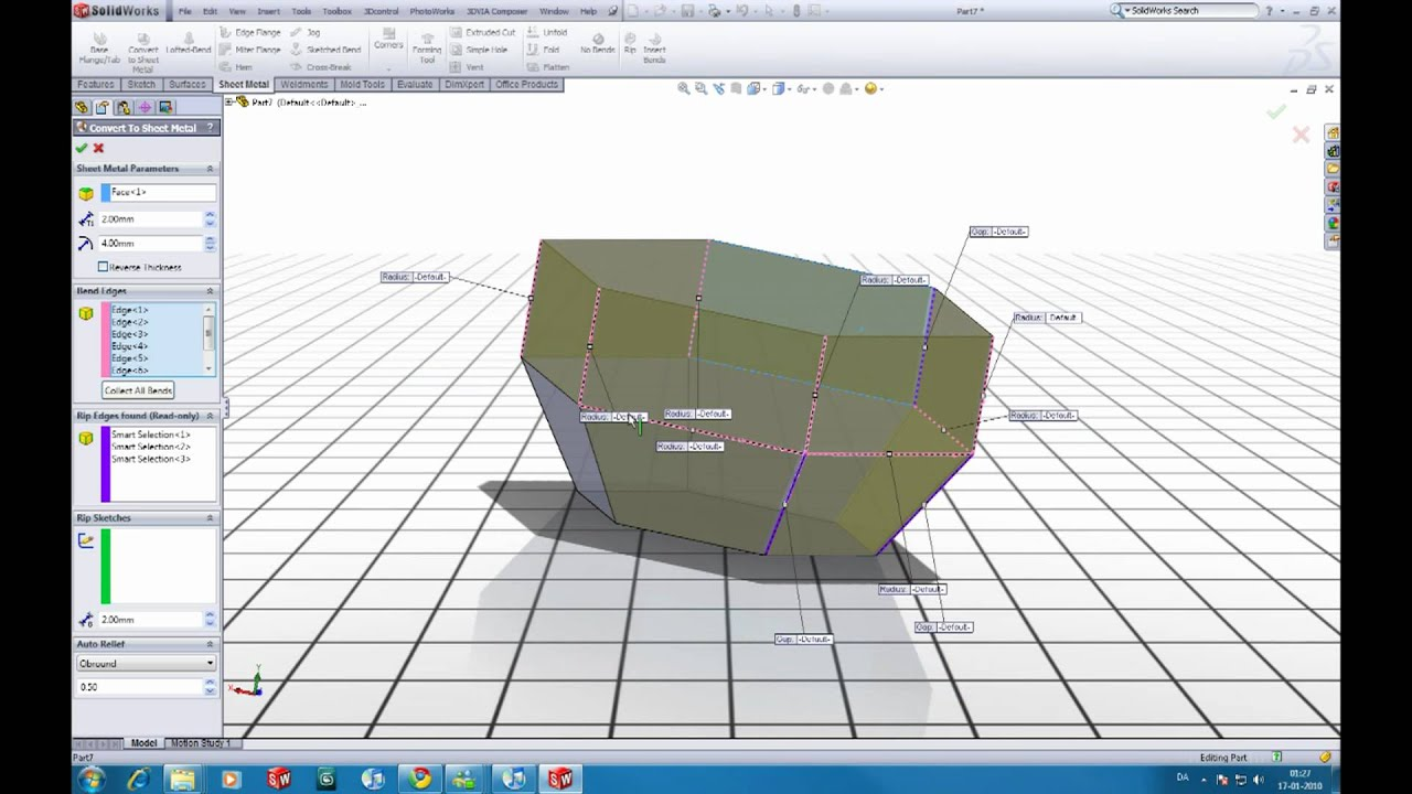 Solidworks Tutorial Convert To Sheet Metal Youtube