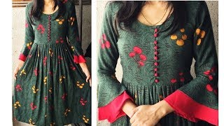 DIY Designer Kurti Cutting And Stitching With Bell Sleeves/Designer neckline Kurti tutorial