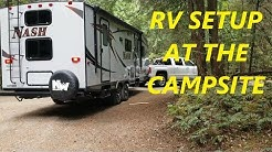 RV Trailer setup at the campsite