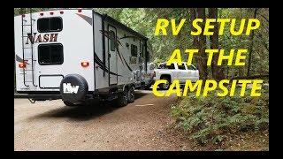 RV Trailer setup at the campsite