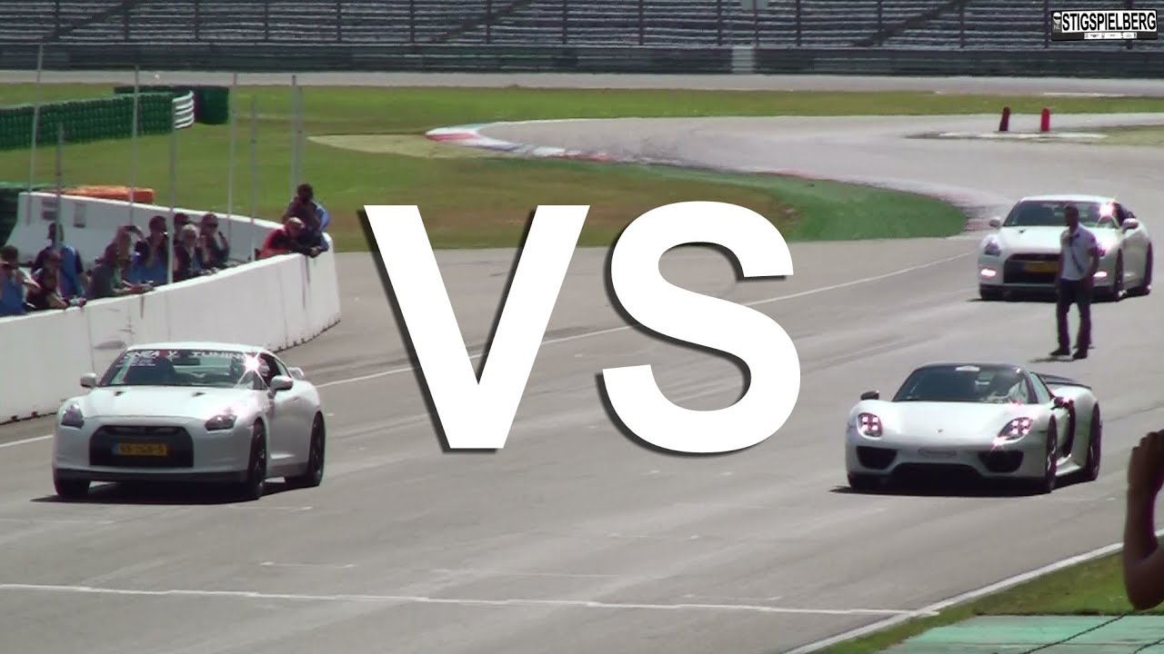 drag races porsche 918 spyder vs 1 325 hp nissan gt r vs stock nissan gt r supercar sunday. Black Bedroom Furniture Sets. Home Design Ideas