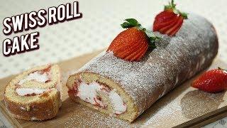 Strawberry Swiss Roll Cake - Eggless Swiss Roll Cake Recipe - Christmas Special Cake Recipe - Ruchi