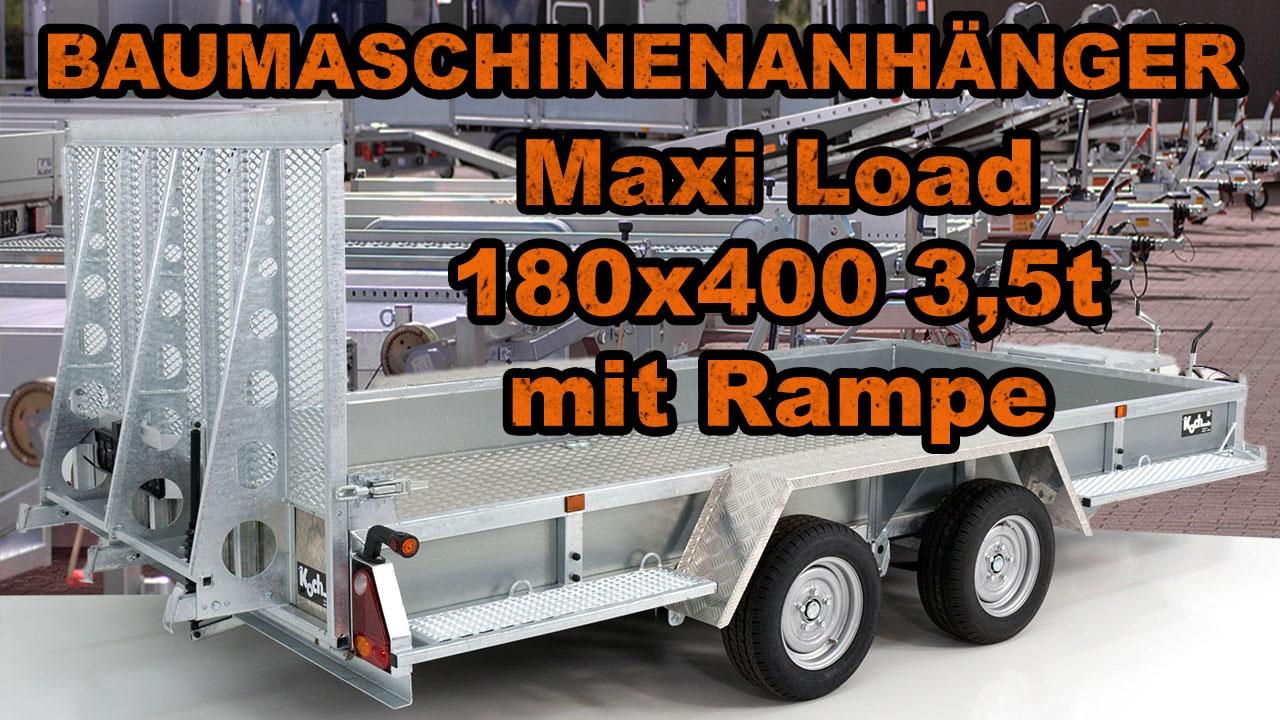 baumaschinenanh nger baggeranh nger maxi load 180x400 3. Black Bedroom Furniture Sets. Home Design Ideas
