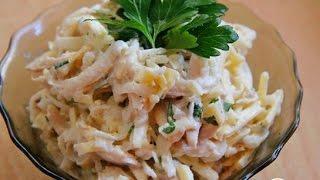 Салат из дайкона с отварной курицей