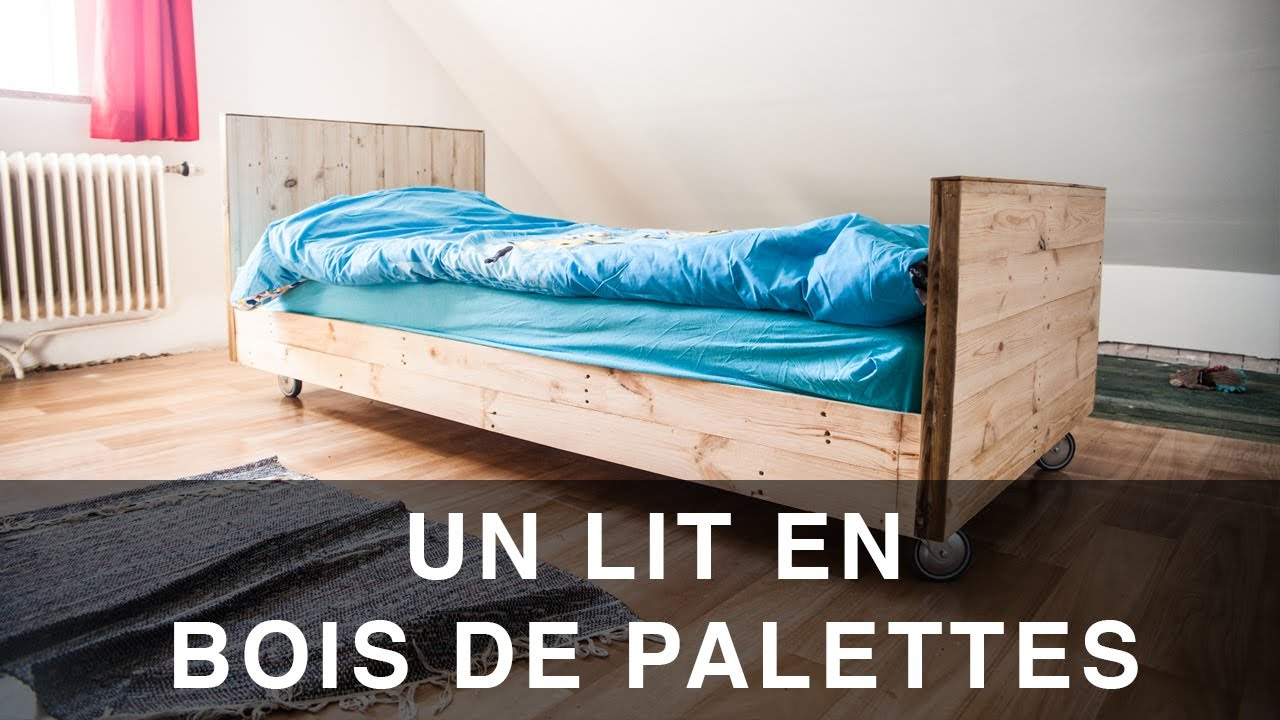 lit en bois de palettes youtube. Black Bedroom Furniture Sets. Home Design Ideas