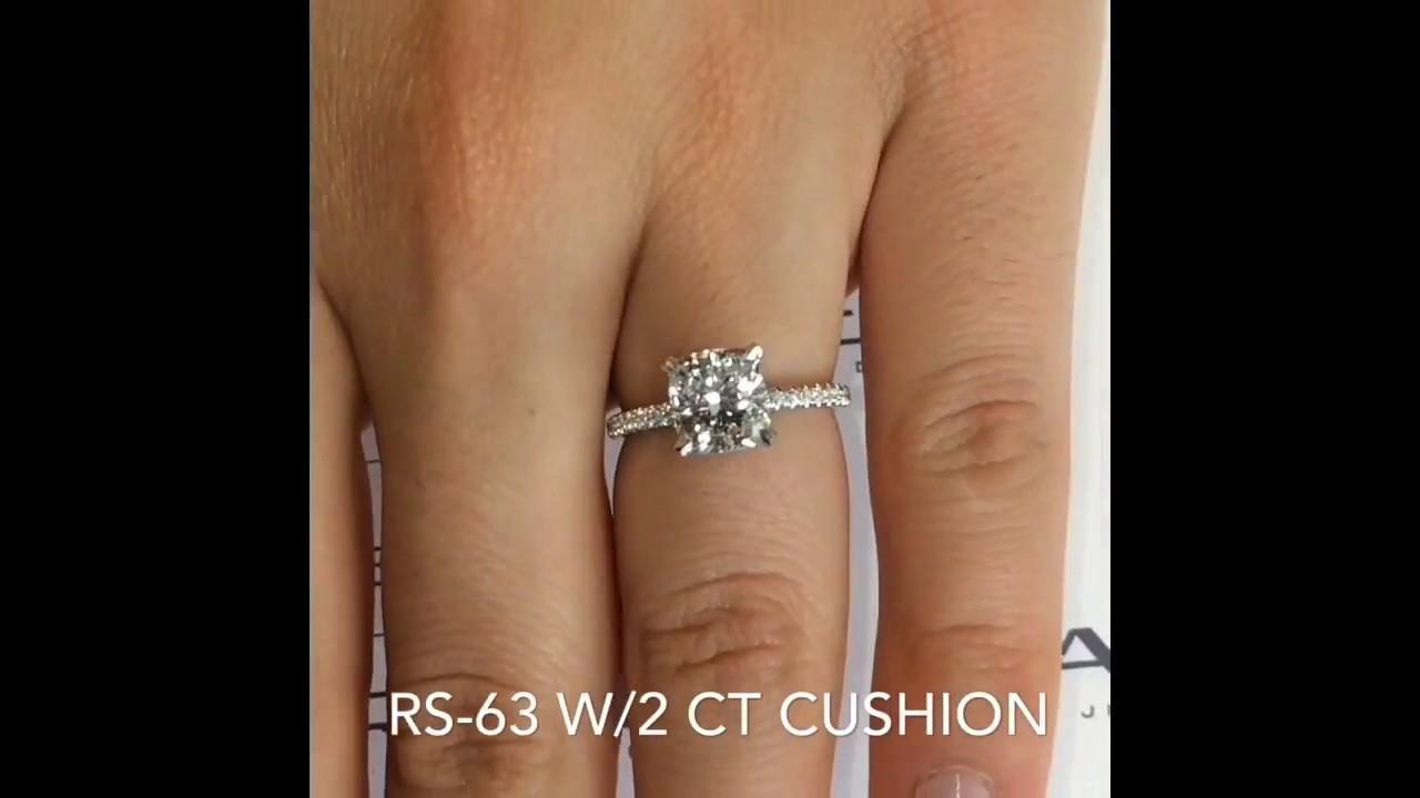 Carat cushion cut diamond engagement ring thin band youtube - 2 Carat Cushion Cut Diamond Engagement Ring
