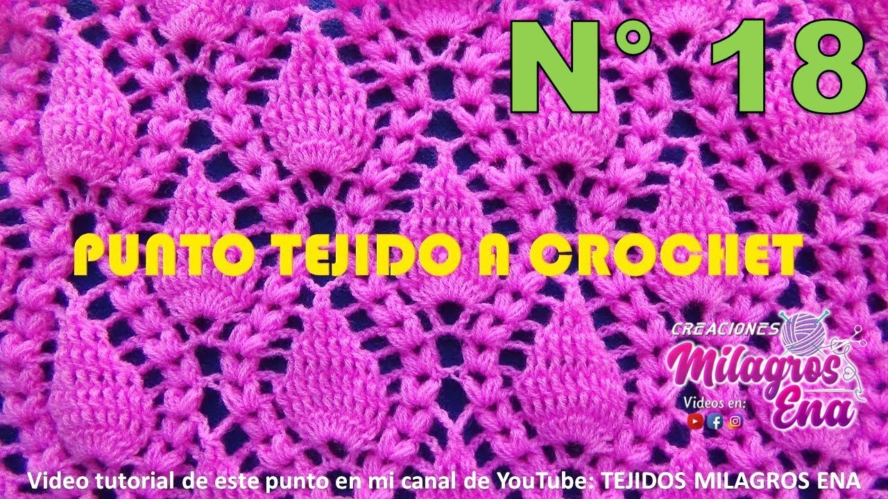 Punto Crochet Hojitas en relieve con Espigas para cobijas y ...