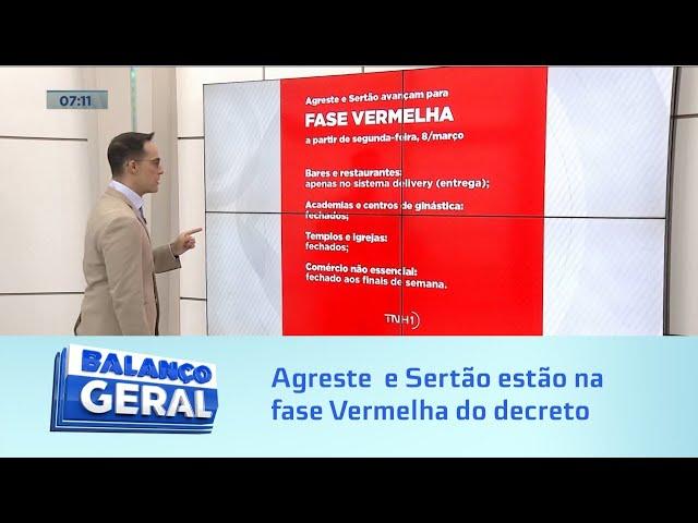 Decreto emergencial: Agreste  e Sertão estão na fase Vermelha