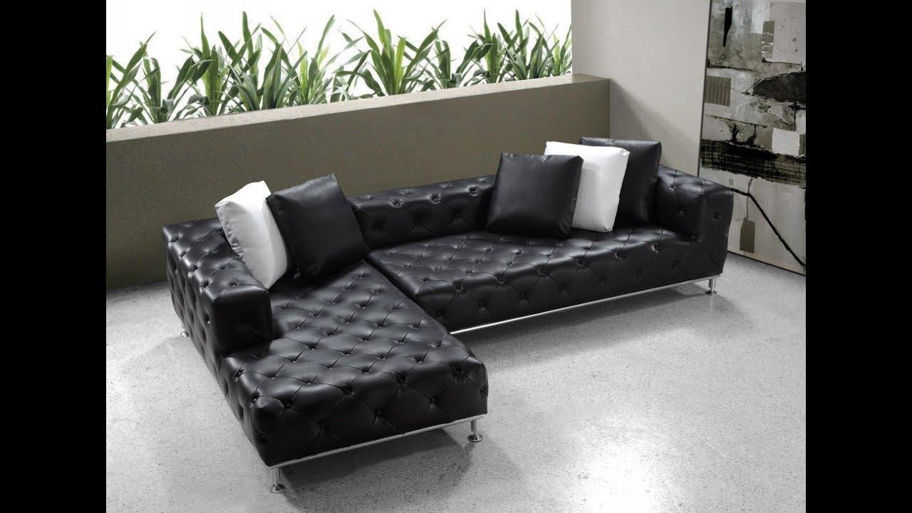 Modern Black Leather Sectional Sofa - YouTube
