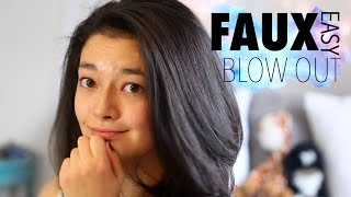 FAUX BLOWOUT || EASY BLOW DRY FOR CRAZY CURLY HAIR