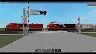 ROBLOX AWVR 777 passa una due traccia Railroad Crossing.