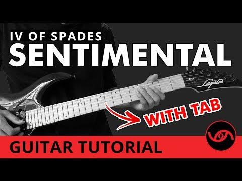Sentimental - IV of Spades Slow Playthrough Guitar Tutorial (WITH TAB)