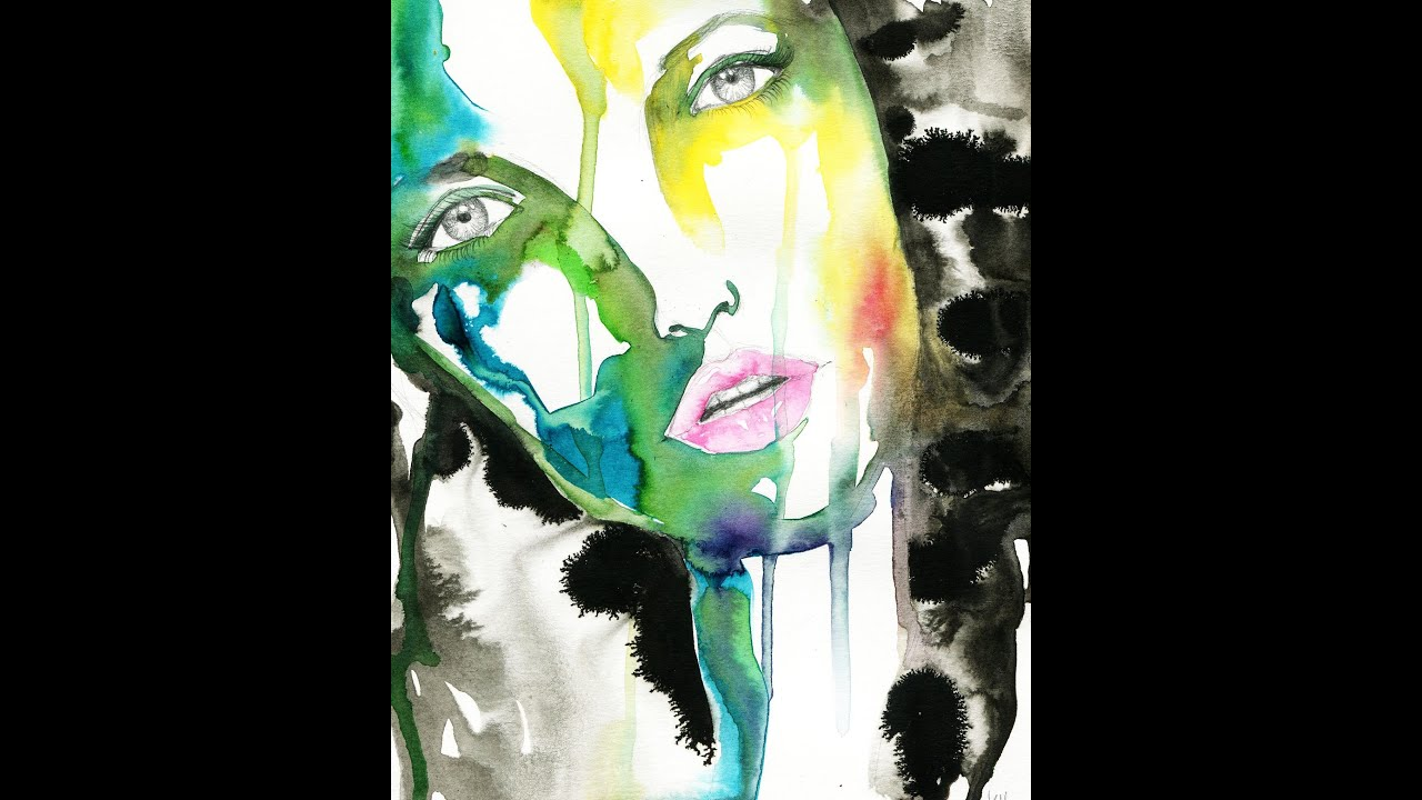 abstract ink painting tutorial womans face quick easy