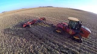 Versatile Delta Track 450 tractor pulling a new Versatile Fury High Speed disk near Kensett Iowa