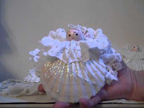 sea shell christmas angel decorations beaded tree - Angel Decorations