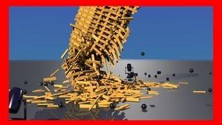Keva Planks Tower Collapse Simulation - Blender Bullet Physics Engine