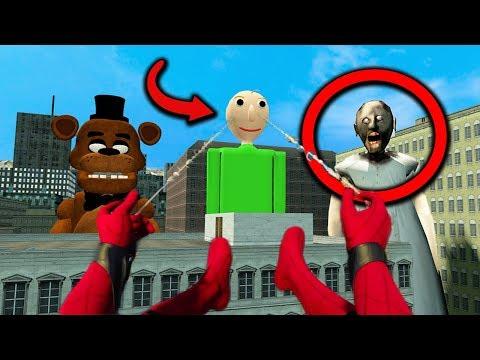 Spider-Man vs GIGANTIC GRANNY, BALDI & FREDDY FAZBEAR in Granny Horror Game MULTIPLAYER!