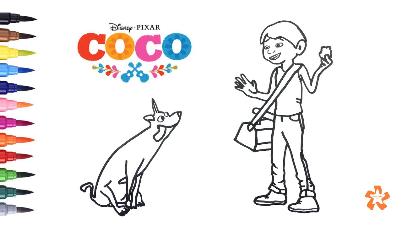 Coco Disney Pixar How To Color Miguel And Dante Coloring Pages For Kids With Color Kids Tv