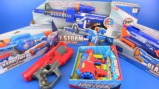 NERF GUNS Toys for kids ! Nerf War: Guns VS Dinosaurs video for kids ! BOX OF TOYS !