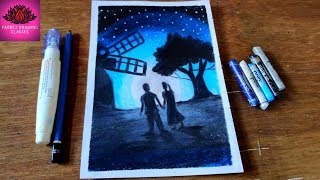 how to draw Couple moonlight scenery drawing with Oil Pastels - step by step
