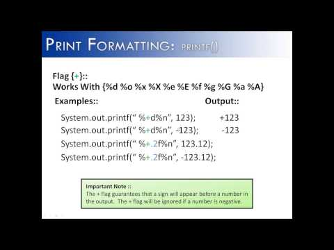 Print Formatting Part 6: printf() Flag + (JAVA)