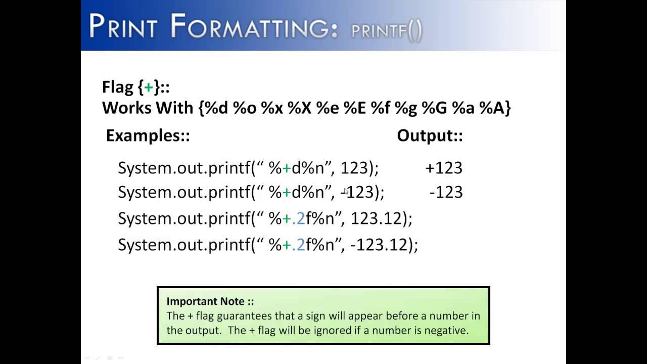 Print Formatting Part 6 Printf Flag Java Youtube