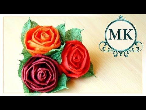 Роза из салфеток. Роза для топиария. Мастер-класс /Rose napkins. Rose for the topiary. Master class