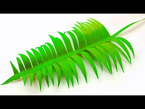 Paper leaf (palm leaves paper) diy design craft making tutorial easy cutting from paper step by step