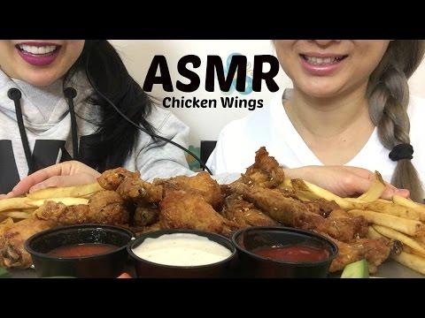 ASMR SWEET THAI CHILI and KOREAN SWEET HONEY BBQ WINGS + FRIES (EATING SOUNDS) | SAS-ASMR