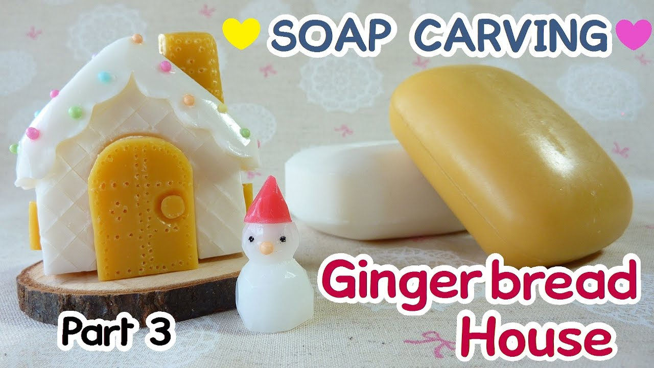 soap carving gingerbread house miniature winter garden part