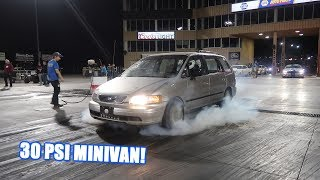 700Hp Soccer Mom Van goes to the TRACK!