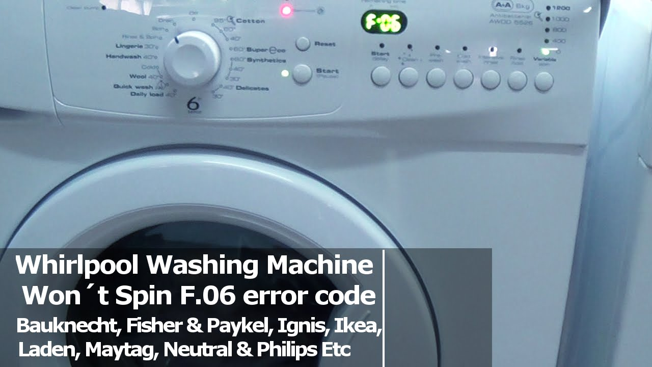 Whirlpool washing machine wont spin f06 error code fault youtube buycottarizona Choice Image