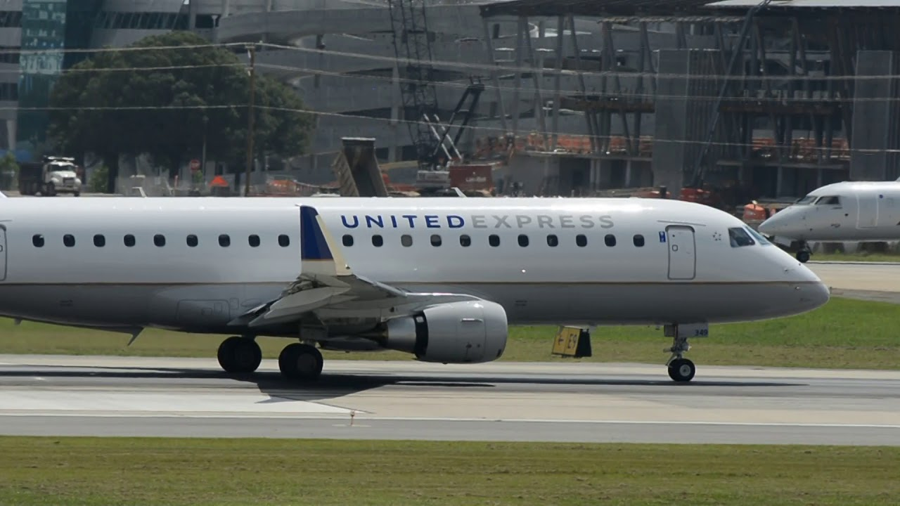 Mesa Airlines United Express Embraer E 175lr Mesa Airlines N89349 Takeoff Charlotte Clt