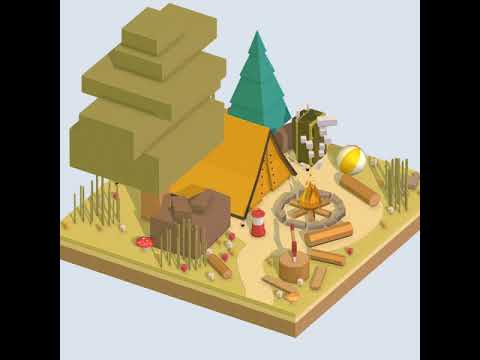 3D Model of isometric camping ground near a big tree Review
