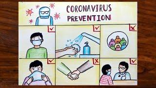 Coronavirus Prevention Awareness Poster Drawing | COVID 19 Awareness Poster Easy Drawing