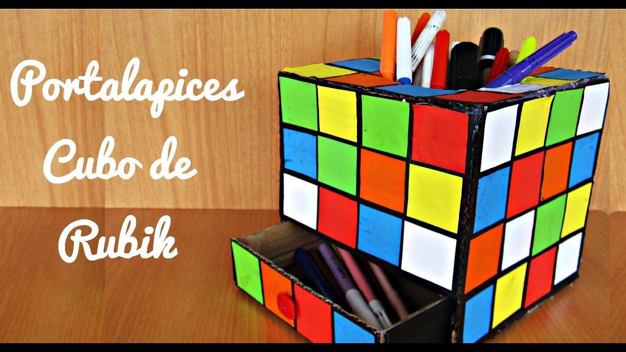 Portalapices de cubo de rubik manualidad 112 youtube for Cubo de luz para jardin