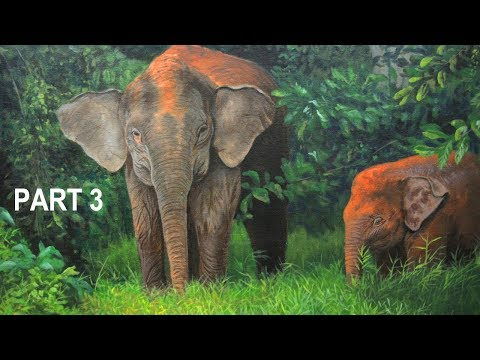 Commissioned Acrylic Painting Mother and Baby Pygmy Elephant in Forest Landscape Part 3