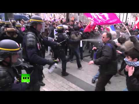 Video: Police tear gas anti-gay marriage protesters in Paris from YouTube · Duration:  1 minutes 17 seconds