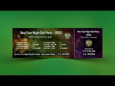 Modern Event Ticket Design - Photoshop CC Tutorial