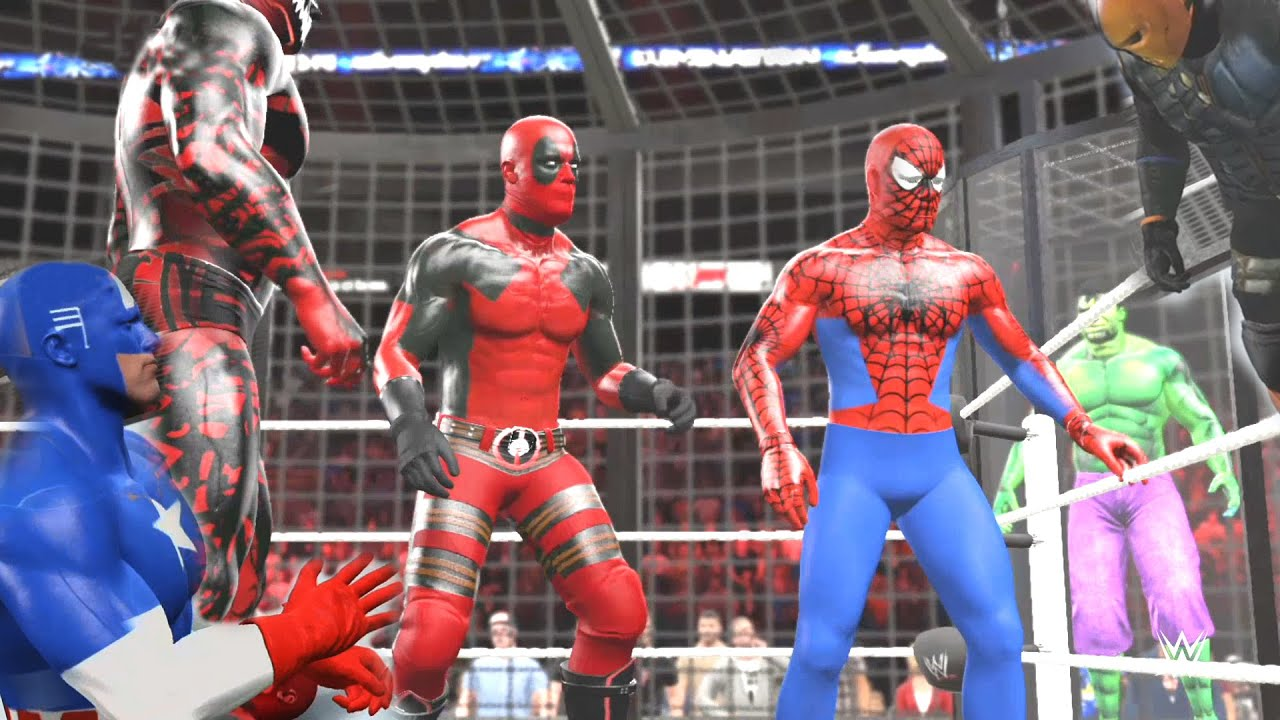 Download WWE 2K15 - Spiderman vs Carnage vs Deathstroke vs Deadpool vs Captain America vs Incredible HULK