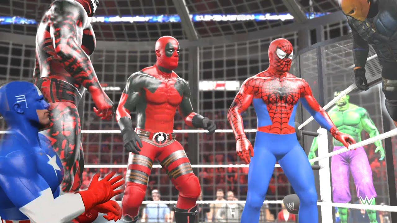 Red Hulk Wallpaper Hd Wwe 2k15 Spiderman Vs Carnage Vs Deathstroke Vs Deadpool