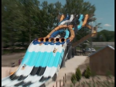 Big Wave Racer POV B-roll Footage Six Flags Hurricane Harbor New Jersey