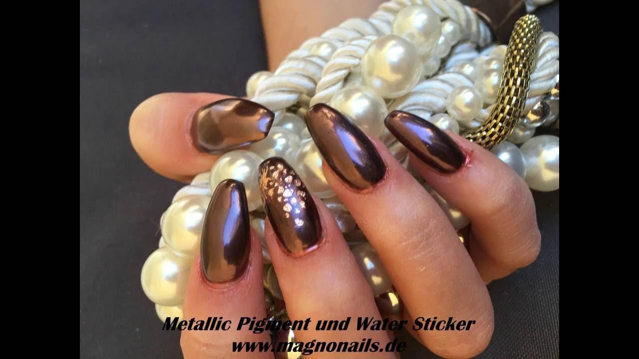 Nail Design mit Pigment Dark Rose und Wasser Metallic Sticker - YouTube