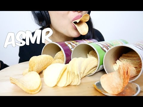ASMR 4 Flavours Pringles (Sour Cream, Pizza, BBQ and Mystery) CRUNCHY EATING SOUND | SAS-ASMR