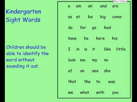 Kindergarten Literacy - 40 Sight Words